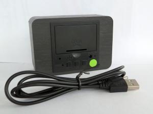 Ceas din lemn cu termometru, alarma, baterii / priza, negru [1]