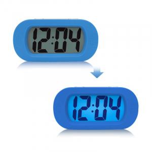 Ceas multifunctional cu design modern, model 1002 cu alarma, snooze, baterii, albastru