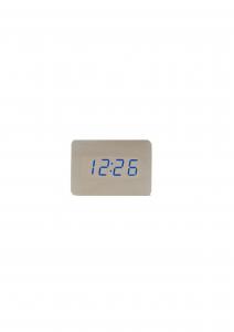 Ceas din lemn cu termometru, alarma, baterii / priza, cifre albastre, alb [0]