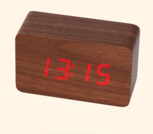 Ceas din lemn cu termometru, alarma, baterii / priza, wenge [2]