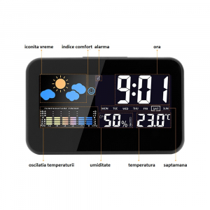 Ceas multifunctional Optimus AT 2618 termometru higrometru alarma [2]