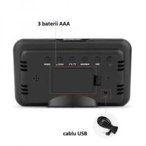 Ceas multifunctional Optimus AT 2618 termometru higrometru alarma [1]