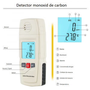 Detector monoxid de carbon Optimus AT 8805 interval 0-1000 ppm masurare temperatura [1]