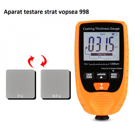 Tester profesional strat de vopsea - interval 0-1500 µm, precizie 3%+2µm, Optimus AT 998 [3]
