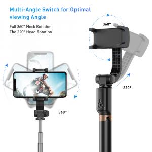 Stabilizator gimbal pe 2 axe cu telecomanda, brat extensibil si trepied, selfie stick negru [3]