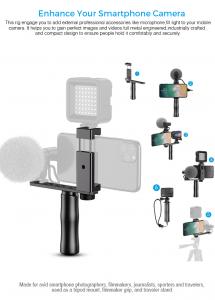 Maner Grip profesional din aluminiu cu suport telefon, pentru vlogging, cu prindere 1/4, negru [0]