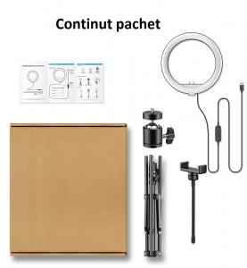 Kit starter vlogging premium - suport telefon + lampa circulara fotografica inaltime 2,1 metri [1]