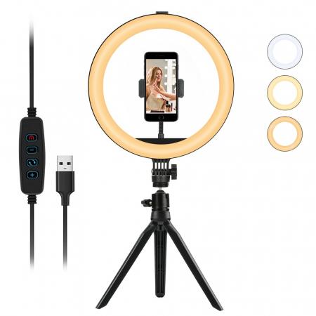 Selfie ring de birou, cu lampa de 10 inch, trepied 19 cm [0]