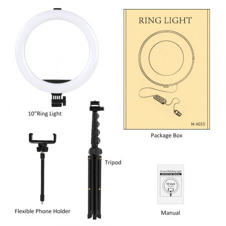 Set selfie ring 10 inch, trepied telescopic 160cm, suport telefon [5]