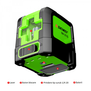 Nivela laser profesionala dioda verde cu 2 linii in cruce SNDWAY 311 - 20 m, ± 0.3 mm/m precizie, 510-530 nm, IP 54, ± 4° domeniu de autonivelare [3]