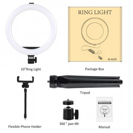 Selfie ring de birou, cu lampa de 10 inch, trepied 19 cm [5]