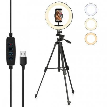 Set selfie ring 10 inch, trepied telescopic 136cm, suport telefon [0]