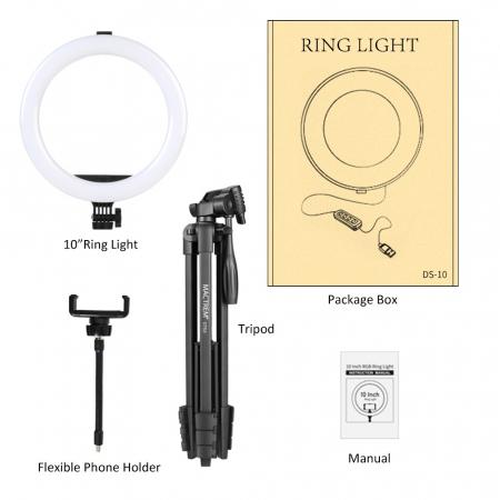 Set selfie ring 10 inch, trepied telescopic 136cm, suport telefon [5]