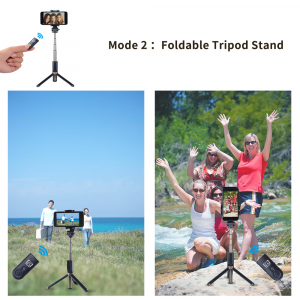 Selfie stick premium cu brat extensibil, telecomanda si trepied, negru, D3 [4]