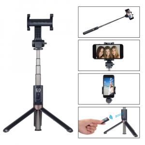 Selfie stick premium cu brat extensibil, telecomanda si trepied, negru, D3 [1]