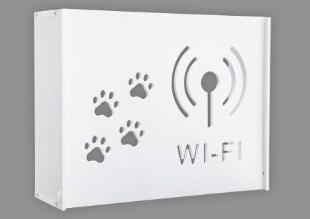 Suport Router Wireless Cat 60x40x10 cm, alb, pentru mascare fire si echipament Wi-Fi, cu posibilitate montare pe perete Optimus AT Home [0]