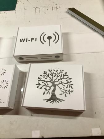 Suport Router Wireless Tree 36x28x9 cm, alb, pentru mascare fire si echipament Wi-Fi, cu posibilitate montare pe perete Optimus AT Home [3]