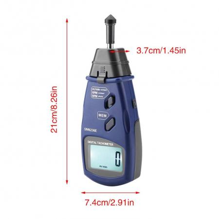 Tahometru digital 2 in 1 cu/fara contact Optimus AT 6236, masurare viteza rotatie pe minut RPM, albastru [5]