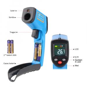 Termometru industrial Optimus AT 400 interval -50 +400°C cu afisaj color luminat, albastru [2]