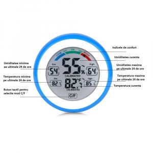Termometru si Higrometru de interior Optimus AT 3305 digital, multifunctional, albastru [2]