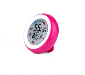 Termometru si Higrometru de interior Optimus AT 3305 digital, multifunctional, roz