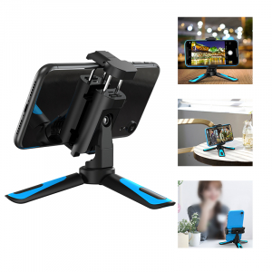 Mini Trepied profesional aluminiu/abs, rotire 360, suport telefon si prindere surub 1/4, negru/albastru [1]