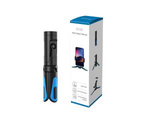 Mini Trepied profesional aluminiu/abs, rotire 360, suport telefon si prindere surub 1/4, negru/albastru [5]