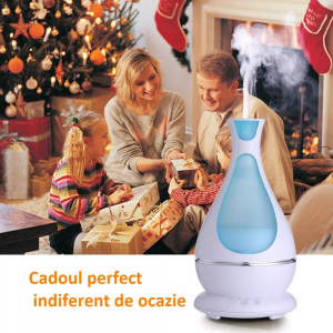 Umidificator Aromaterapie Lampa de veghe Optimus AT Home™ 1818 cu ultrasunete, 25m², purificator aer, difuzor, rezervor 400ml, white [4]