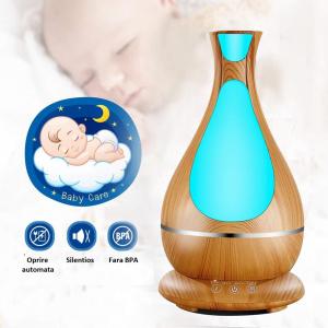 Umidificator Aromaterapie Lampa de veghe Optimus AT Home™ 1818 cu ultrasunete, 25m², purificator aer, difuzor, rezervor 400ml, light wood [2]