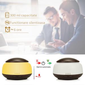 Umidificator Aromaterapie Lampa de veghe Optimus AT Home™ 1850 rezervor 300ml, ultrasunete, 20-30m², purificator aer, difuzor, dark wood [3]
