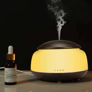 Umidificator Aromaterapie Lampa de veghe Optimus AT Home™ 1850 rezervor 300ml, ultrasunete, 20-30m², purificator aer, difuzor, dark wood [1]