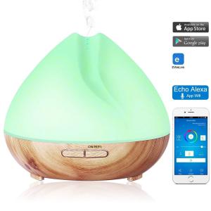 Umidificator Aromaterapie Lampa de veghe SMART Alexa Optimus AT Home™ 1701 cu ultrasunete, 30m², purificator aer, difuzor, rezervor 400ml, light wood TUYA [1]