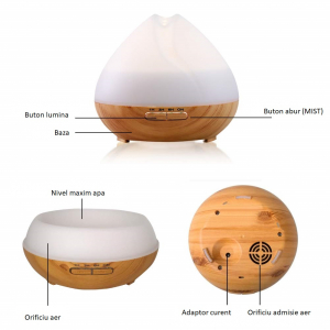 Umidificator Aromaterapie Lampa de veghe SMART Alexa Optimus AT Home™ 1701 cu ultrasunete, 30m², purificator aer, difuzor, rezervor 400ml, light wood TUYA [8]