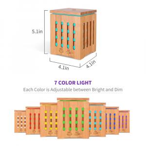 Umidificator Aromaterapie Optimus AT Home™ 1825 rezervor 200ml, cu ultrasunete, 20-25m², purificator aer, difuzor, dark wood [3]