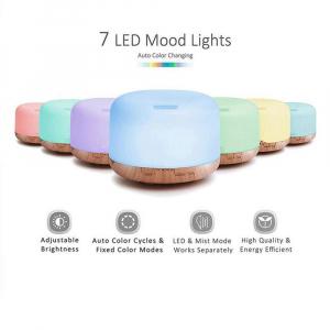 Umidificator cu telecomanda Aromaterapie Lampa de veghe Optimus AT Home™ 1553  rezervor 1000ml, cu ultrasunete, 30-40m², purificator aer, difuzor, light wood base [5]