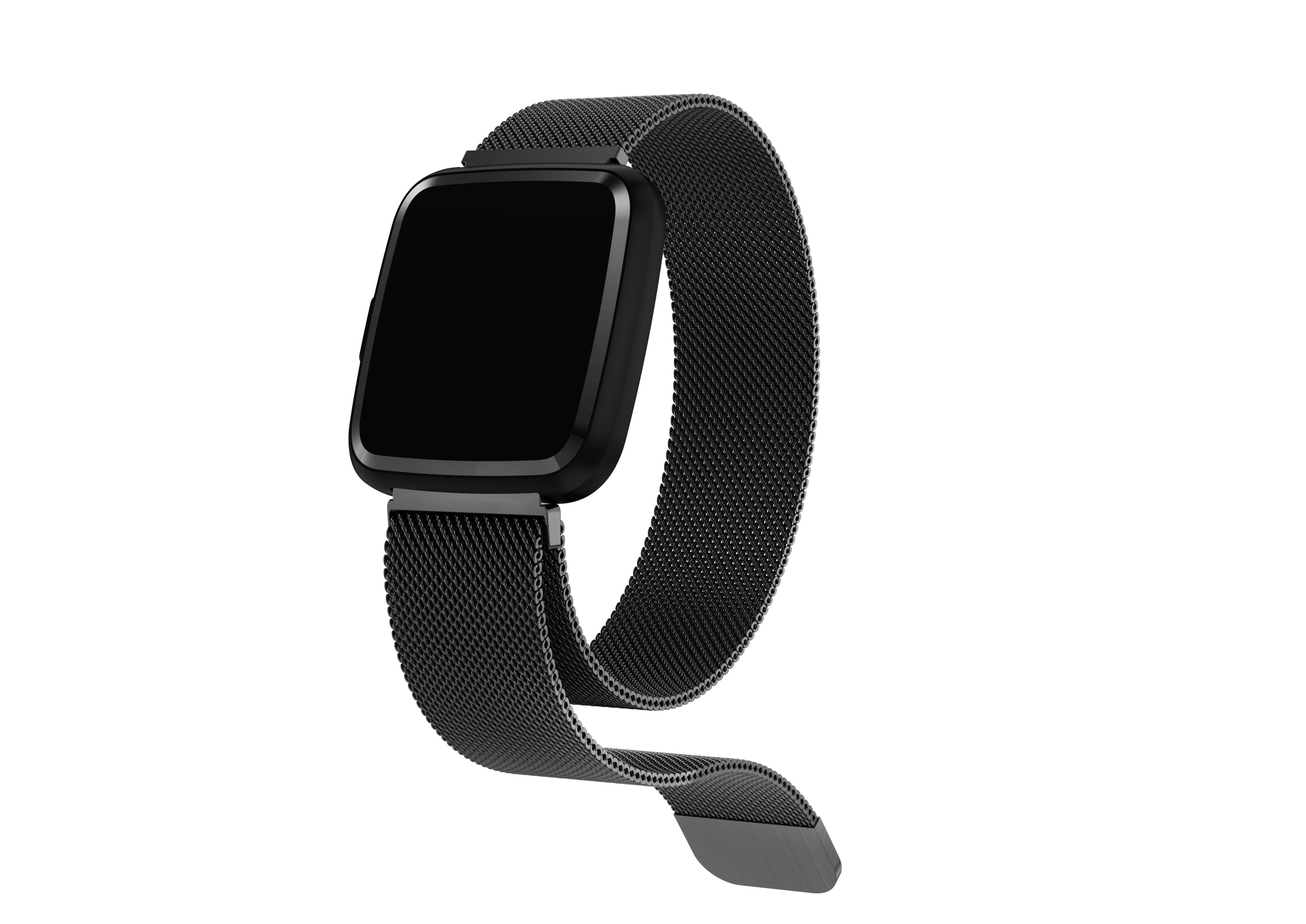 Bratara fitness curea metalica Optimus AT 7 ecran color, smartwatch, pedometru, puls, notificari, black [3]
