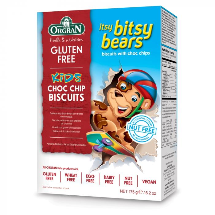 Orgran - Biscuiti ursuleti cu ciocolata Itsy Bitsy fara gluten si alergeni x 175g 0