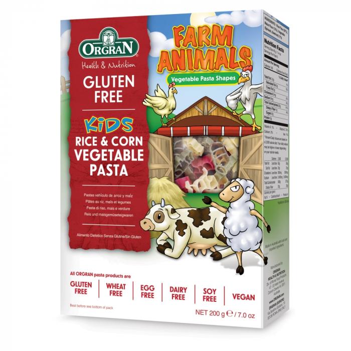 Orgran - Paste vegetale din orez si porumb cu forme de animale fara gluten si alergeni x 200g [0]