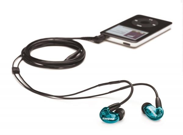 Casti profesionale in-ear Shure SE215SPE-B-UNI-EFS, Special Edition, cu super izolare fonica, albastru 4