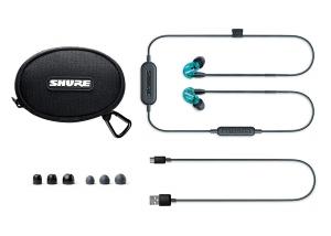 Casti profesionale in-ear Shure SE215SPE-B-BT1-EFS, Special Edition, Bluetooth, Wireless, cu super izolare fonica, albastru2