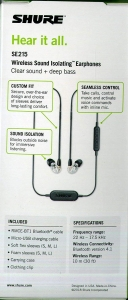 Casti profesionale in-ear Shure SE215-CL-BT1-EFS,  Bluetooth, Wireless, cu super izolare fonica, transparent3