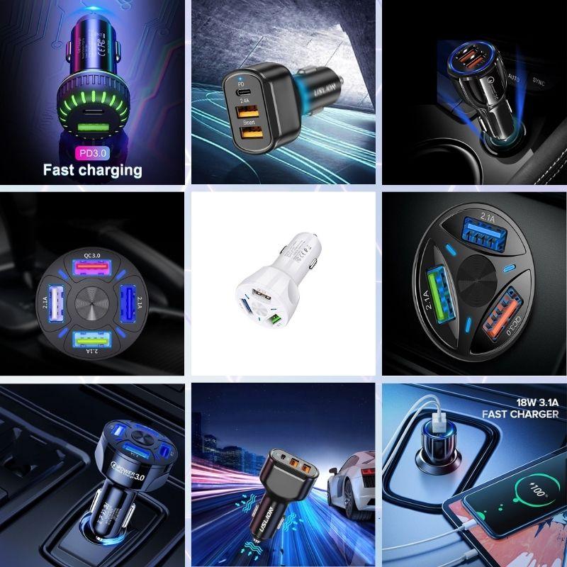 Incarcatoare Auto 12V & 3.6A - USB 3.0 & USB Tip C Fast Charge
