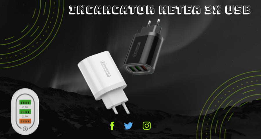 Incarcator Retea 3x Porturi USB Quick Fast Charge Qualcomm 3.0 cu Multiple Protectii ALB