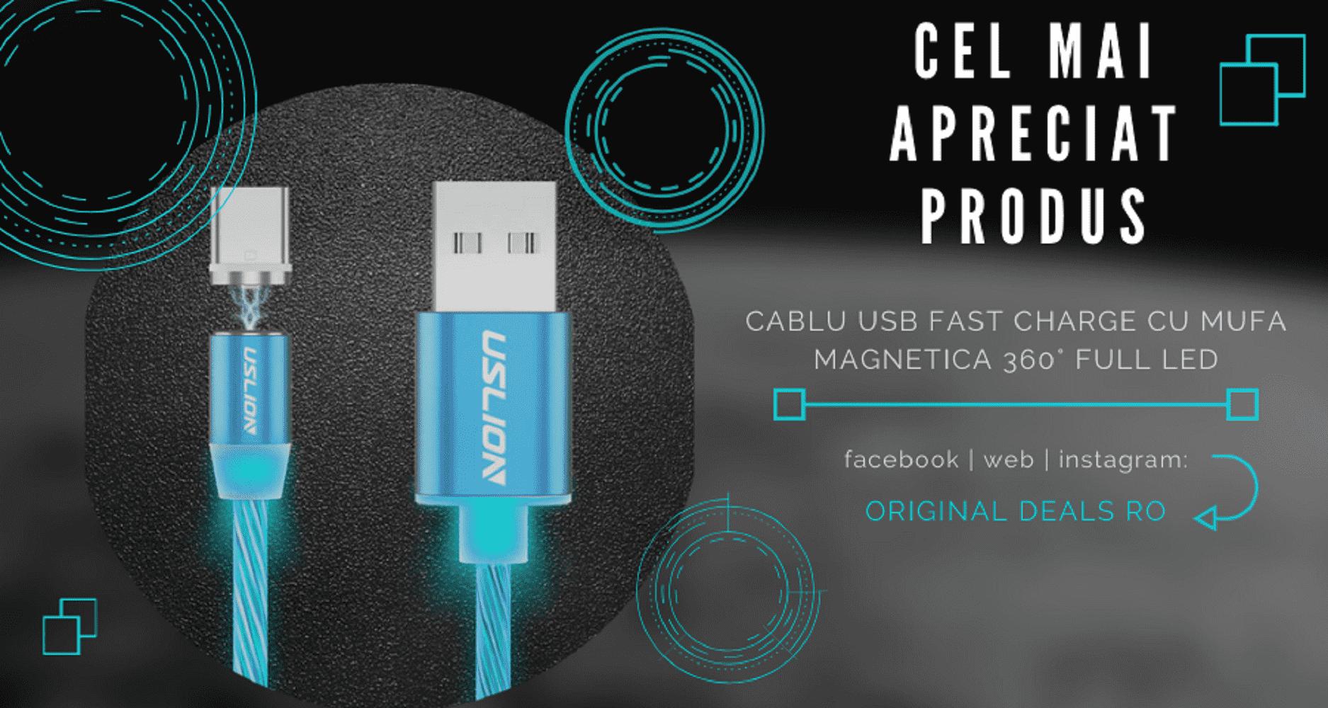 Cablu USB Fast Charge cu Mufa Magnetica 360° Neodim & Full LED