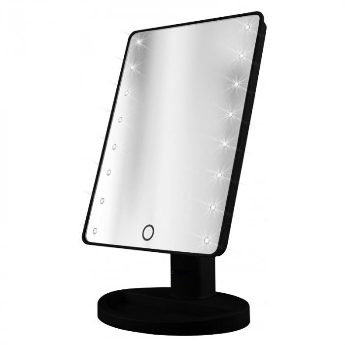 Oglinda de Masa pentru Make Up si Machiaj, cu 16 LED Integrate, Wireless, cu Baterii, Buton On/Off, Premium, Negru 3