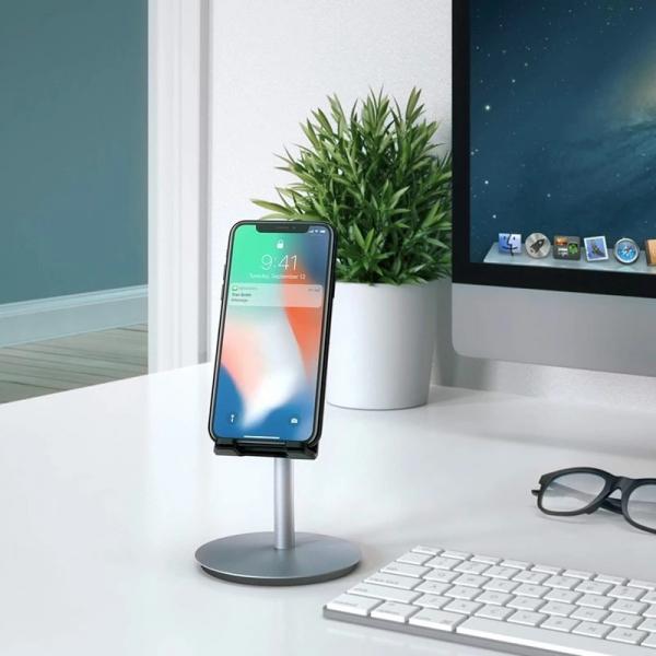 Suport Premium Metalic pentru Tableta sau Telefon cu Inaltime si Unghi de Vizualizare Reglabil - Negru 0
