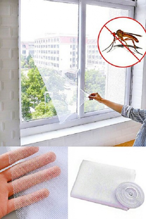 Kit pentru Montare Plasa de Tantari si Insecte, Plasa, Banda Adeziva si Cutit, 140 x 140cm, Alb [0]