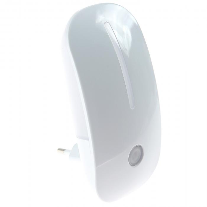 Lampa de Veghe cu Senzor de Lumina, tip Mouse pentru Priza, Lumina Alba, Consum Redus 1W, Universal, Alb 1
