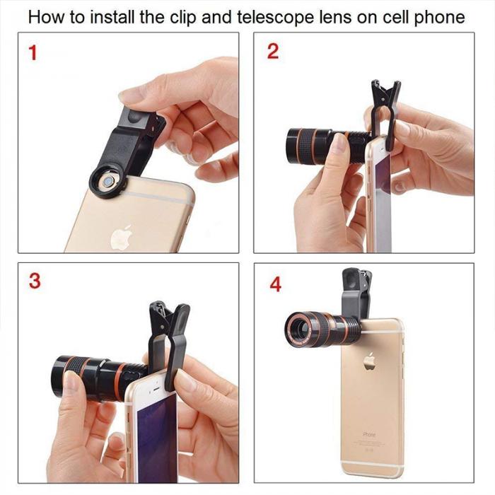 Telescop Lentila Optica Zoom 12x  Pentru Telefon Mobil sau Tableta  Obiectiv telefon Lentila Telefon  Fotografii  poze telefon 1