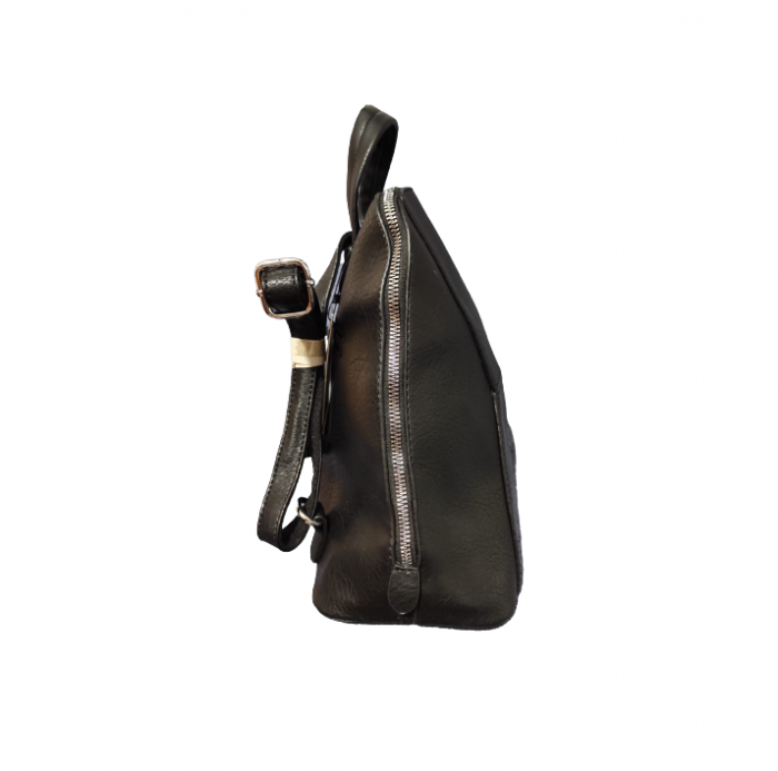 Ghiozdan cu 5 Buzunare si Bretele Ajustabile din Piele Ecologica Negru, Model Deosebit Premium [4]